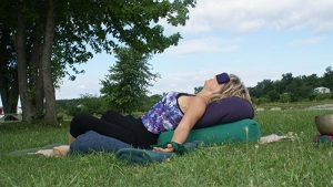 Private yoga sessions - relaxing yoga pose in nature